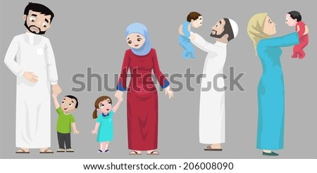 Arabs- Hanging Out With Children-vector - stock vector