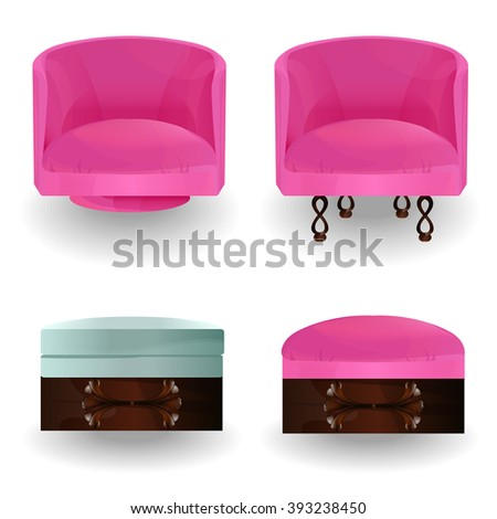 armchair and ottoman isolated vector.Collection types seating. Simple cartoon isolated vector illustration.Furniture icons-set.home decor boutique, furniture design.Elements of interior. - stock vector