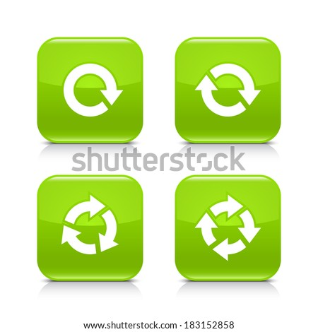 4 arrow green icon. White repeat, reload, refresh, rotation sign. Set 03. Rounded square web button with black shadow, gray reflection on white background. Vector illustration design element in 8 eps - stock vector