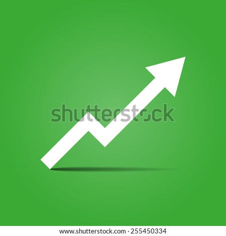 Arrow growth on a green background with shadow vector illustration - stock vector