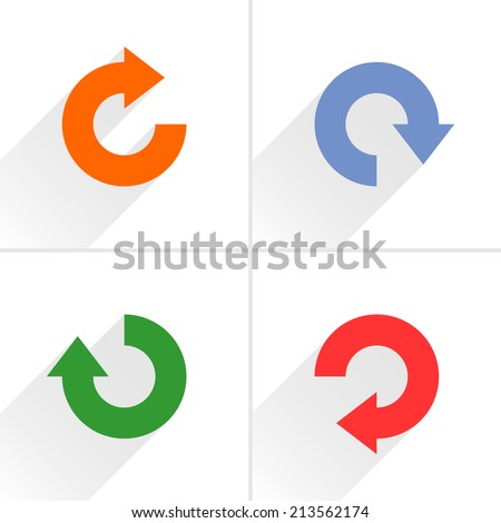 4 arrow icon refresh, rotation, reset, repeat, reload sign set 04. Orange, blue, green, red colors pictogram with gray long shadow on white background. Simple flat style vector illustration - stock vector