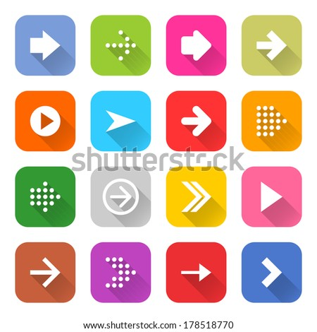 16 arrow icon set 01 (white sign on color). Rounded square web button on white background. Simple minimalistic mono flat long shadow style. Vector illustration internet design graphic element 10 eps - stock vector