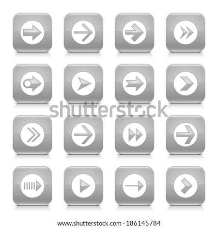 16 arrow icon set 03. White sign on gray rounded square button with gray reflection, black shadow on white background. Glossy style. Vector illustration web design element save in 8 eps - stock vector