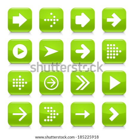 16 arrow icon set 01. White sign on green rounded square button with gray reflection, black shadow on white background. Glossy style. Vector illustration web design element save in 8 eps - stock vector