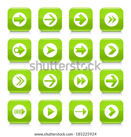 16 arrow icon set 03. White sign on green rounded square button with gray reflection, black shadow on white background. Glossy style. Vector illustration web design element save in 8 eps - stock vector