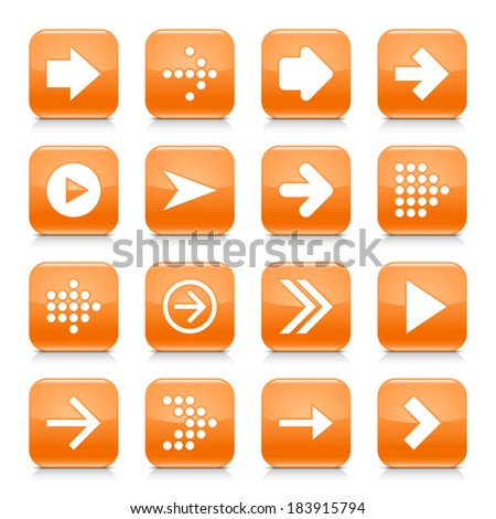 16 arrow icon set 01. White sign on orange rounded square button with gray reflection, black shadow on white background. Glossy style. Vector illustration web design element save in 8 eps - stock vector