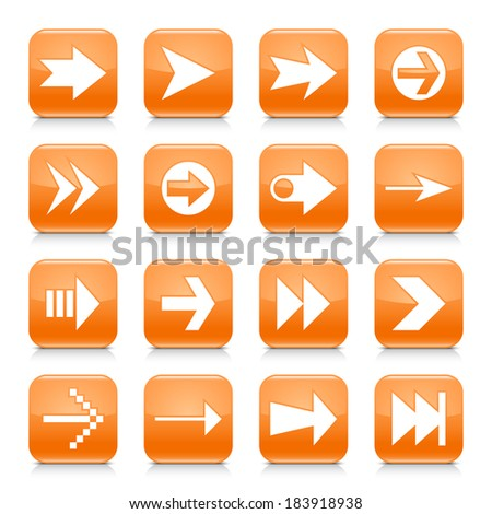 16 arrow icon set 02. White sign on orange rounded square button with gray reflection, black shadow on white background. Glossy style. Vector illustration web design element save in 8 eps - stock vector