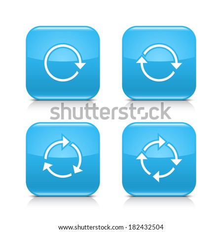4 arrow icon. White repeat, reload, refresh, rotation sign. Set 01. Blue rounded square button with gray reflection, black shadow on white background. Vector illustration web design element in 8 eps - stock vector
