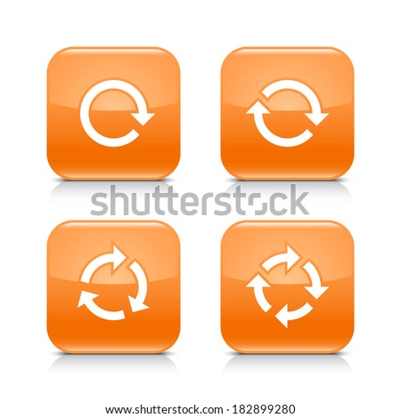 4 arrow icon. White repeat, reload, refresh, rotation sign. Set 01. Orange rounded square web button with black shadow, gray reflection on white background. Vector illustration design element in 8 eps - stock vector