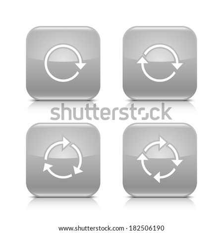 4 arrow icon. White repeat, reload, rotation, refresh sign. Set 02. Gray rounded square button with gray reflection, black shadow on white background. Vector illustration web design element in 8 eps - stock vector