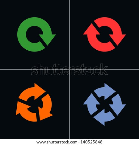 4 arrow pictogram refresh, reload, rotation, loop, sign set. Volume 04 (color in black). Simple  mono solid plain flat minimal style icon on black background. Vector illustration design elements 8 eps - stock vector
