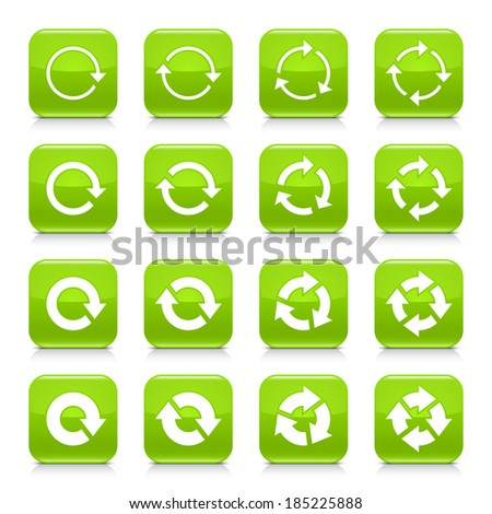 16 arrow reload, rotation icon set 04. White sign on green rounded square button with gray reflection, black shadow on white background. Glossy style. Vector illustration web design element in 8 eps - stock vector