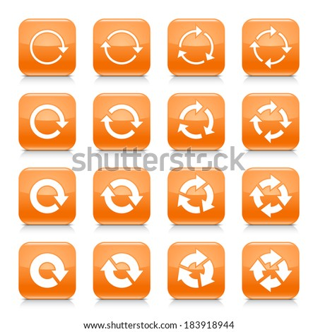 16 arrow reload, rotation icon set 04. White sign on orange rounded square button with gray reflection, black shadow on white background. Glossy style. Vector illustration web design element in 8 eps - stock vector
