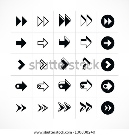 25 arrow sign icon set 07 (black color). Modern simple pictogram minimal, flat, solid, mono, monochrome, plain, contemporary style. Vector illustration web internet design elements saved in 8 eps - stock vector