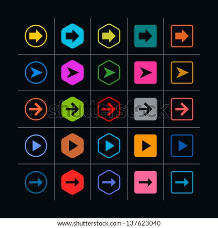 25 arrow sign icon set. Set 06  on black (pink, violet, gray, orange, brown, yellow, green, blue, red). Simple pictogram modern, mono, plain, minimal, flat, solid style. Web design elements 8 eps - stock vector