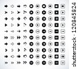 100 arrow sign icon set. Volume 02 (black version). Modern simple pictogram minimal, flat, solid, mono, monochrome, plain, contemporary style. Vector illustration web internet design elements in 8 eps - stock photo