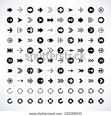 100 arrow sign icon set. Volume 01 (black version). Modern simple pictogram minimal, flat, solid, mono, monochrome, plain, contemporary style. Vector illustration web internet design elements in 8 eps