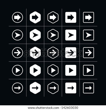 25 arrow sign icon set 06 (white in black). Modern simple pictogram minimal, mono, monochrome, contemporary style. Vector illustration web internet design elements saved in 8 eps - stock vector