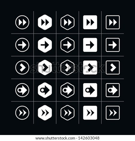 25 arrow sign icon set 08 (white in black). Modern simple pictogram minimal, mono, monochrome, contemporary style. Vector illustration web internet design elements saved in 8 eps - stock vector