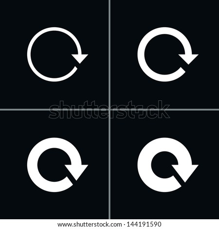 4 arrow sign reload, refresh, rotation, repeat pictogram. Set 01. Simple white icon on black background. Modern mono solid plain flat minimal style. Vector illustration web design elements 8 eps - stock vector