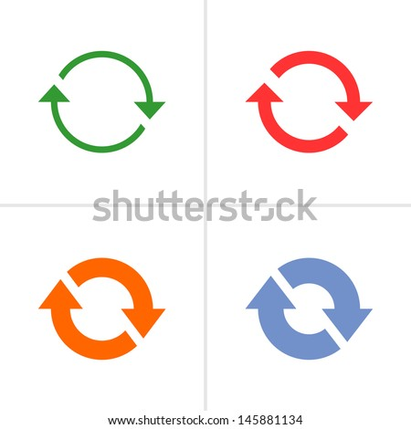 4 arrow sign rotation reset reload refresh pictogram set 02. Simple color icon on white background. Mono solid plain flat minimal style. Vector illustration web design elements 8 eps - stock vector