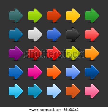25 arrow sign web 2.0 icon. Colored button with shadow on gray background - stock vector
