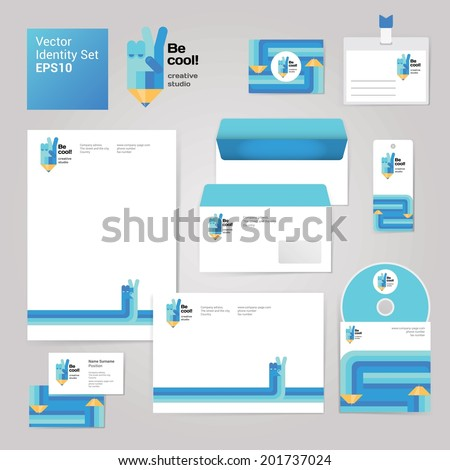 Art creative drawing corporate identity style set with envelope, blank, business card and disk. Modern vector illustration and design elements, editable file - stock vector