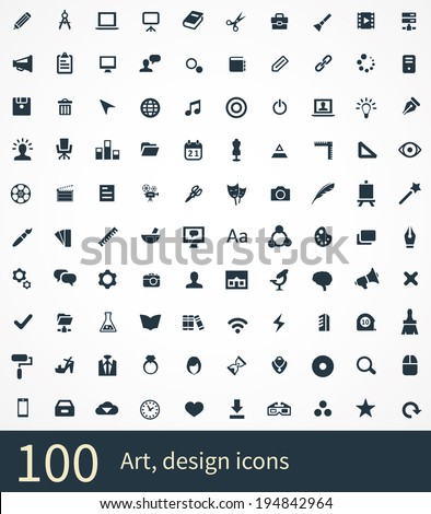 100 art, design icons - stock vector