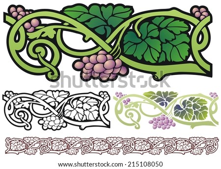Art nouveau design element grapes with leaves and vines - stock vector