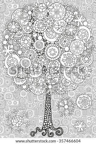Artistic tree with winter Christmas snowflakes. Pattern for coloring book. Hand drawn, doodle, tribal.  Made by trace from sketch. Ink pen. Black and white background. Zentangle patters. - stock vector