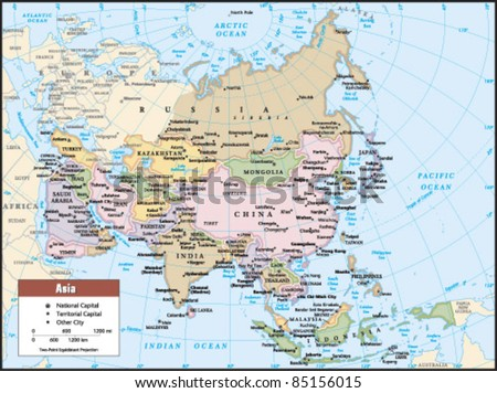 2012 Asia Political Continent Map - stock vector