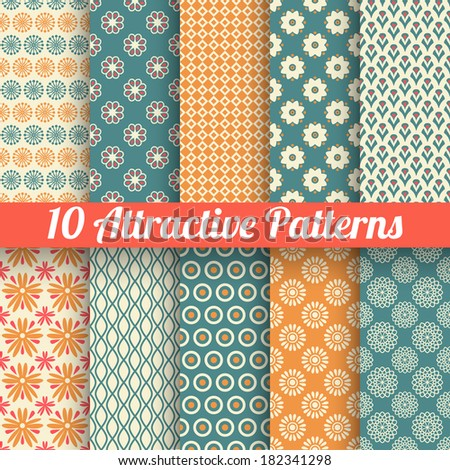10 Attractive vector seamless patterns (tiling). Blue, orange colors. Texture for printing onto fabric, paper, scrap booking. Abstract flower, shape. Classy feminine background. Retro and vintage. - stock vector