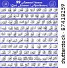99 attributes / names of Allah (Asmaul Husna) scalable vector in thuluth arabic calligraphy style suitable for chart / poster / canvas printing for pre-school  or home islamic education - stock vector