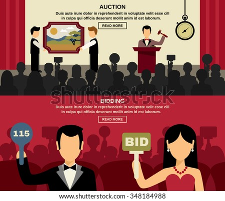 Auction and bidding horizontal banners set with people and picture flat isolated vector illustration  - stock vector