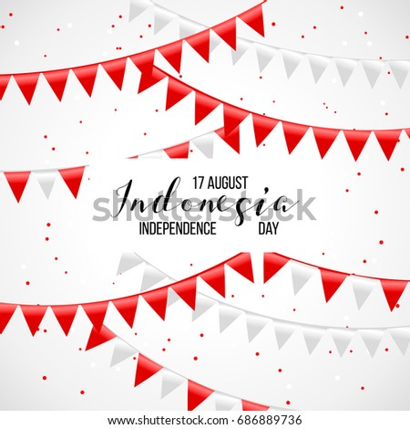 17 august indonesia happy independence day stock vector 686889736 indonesia happy independence day greeting card waving indonesian flags isolated on white m4hsunfo