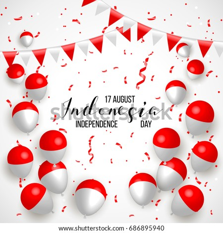 17 august indonesia happy independence day stock vector 686895940 indonesia happy independence day greeting card waving indonesian flags isolated on white m4hsunfo