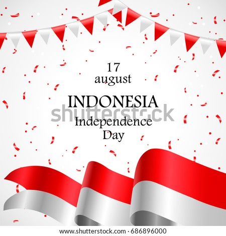 17 august indonesia happy independence day stock vector 686896000 indonesia happy independence day greeting card waving indonesian flags isolated on white m4hsunfo