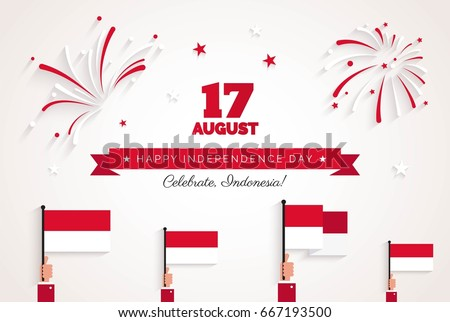 17 August. Indonesia Independence Day greeting card.  Celebration background with fireworks, flags and text. Vector illustration