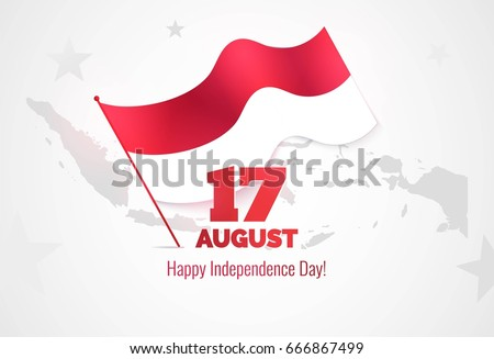 17 August. Indonesia Independence Day Greeting Card. Celebration Background  With Map Silhouette And Waving