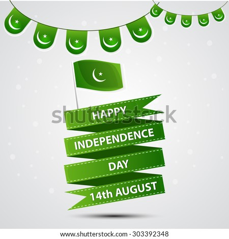 14 August. Pakistan Independence Day. Celebration Background,banners and buntings.  Vector Illustration