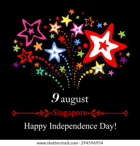 9 August. Singapore Independence Day. Celebration background with fireworks and place for your text. Vector Illustration - stock vector