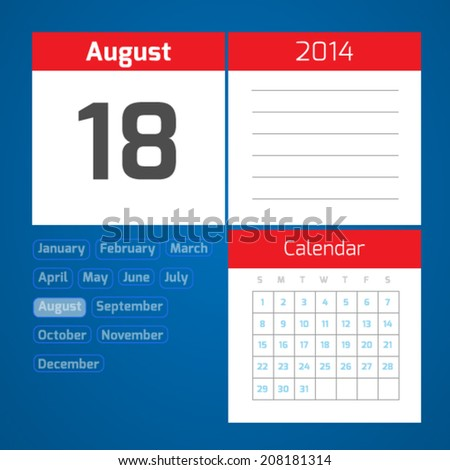 18 august - vector daily calendar on blue background