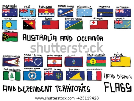 Australia and Oceania hand drawn flags