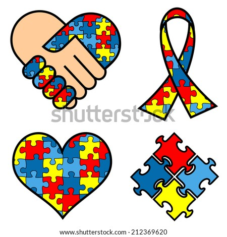 Autism Awareness symblos: hands, ribbon, heart, puzzle - stock vector