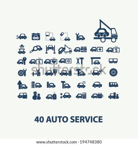 40 auto, car service, repair, washing, wheel icon set, vector - stock vector