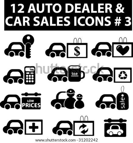 12 auto dealer & car sakes icons # 3.vector - stock vector