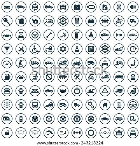 100 auto icons big universal set  - stock vector