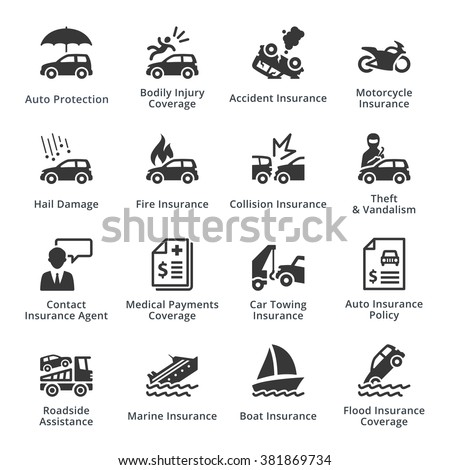 Auto Protection Icons  - stock vector