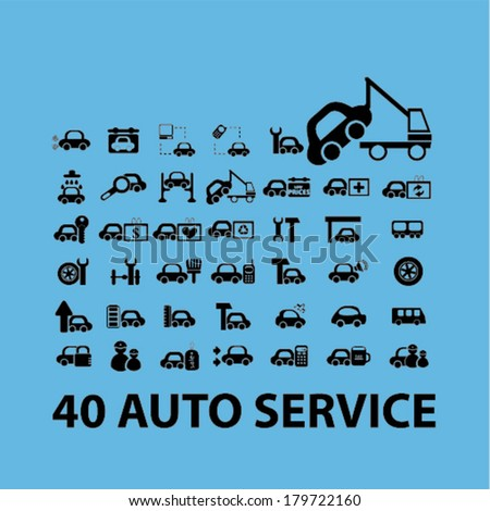 40 auto service, car repair icons set, vector - stock vector
