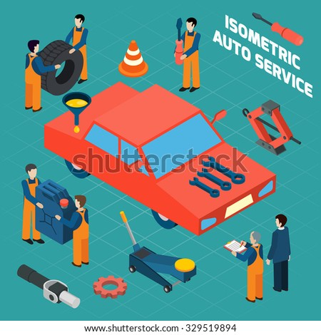 Auto service  isometric icons set with red car people in workwear spare parts and tools  isolated vector illustration - stock vector